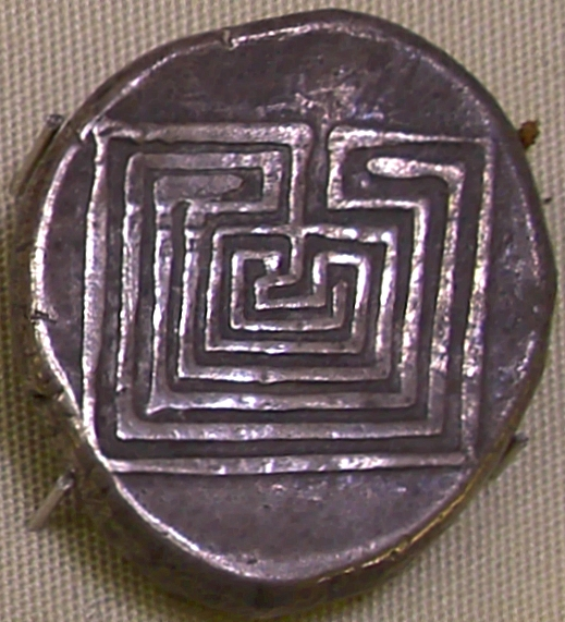 4th century silver coin with labyrinth