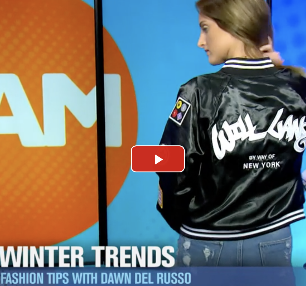 """LOOK LIKE A DIVA IN WINTER COATS!      - The Jam    """"I love this. They put all these cool patches. This is our sporty look and it pairs so well with jeans on the weekend or running around.""""  WATCH MORE"""