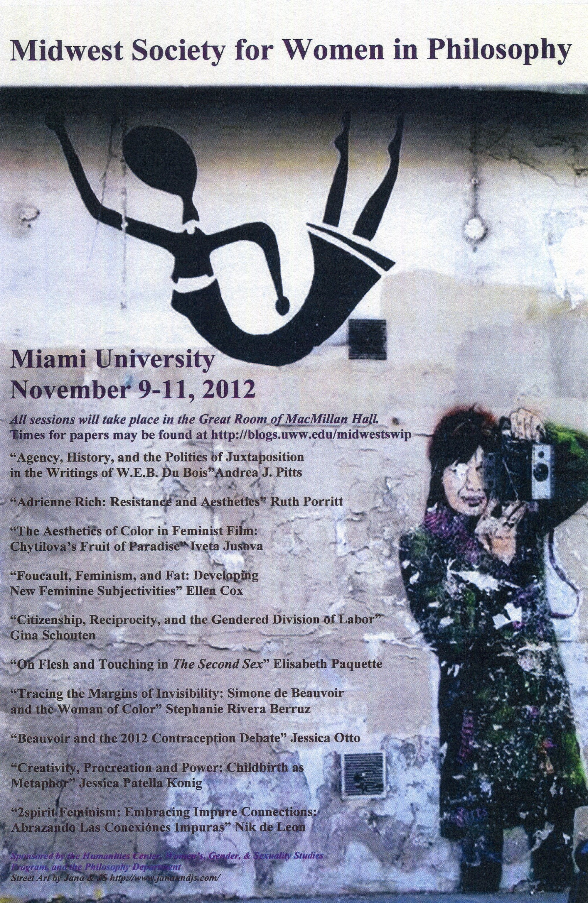 Flyer for Midwest Society for Women in Philosophy conference, 2012.  Society for Women in Philosophy Collection, Feminist Theory Archive, Brown University