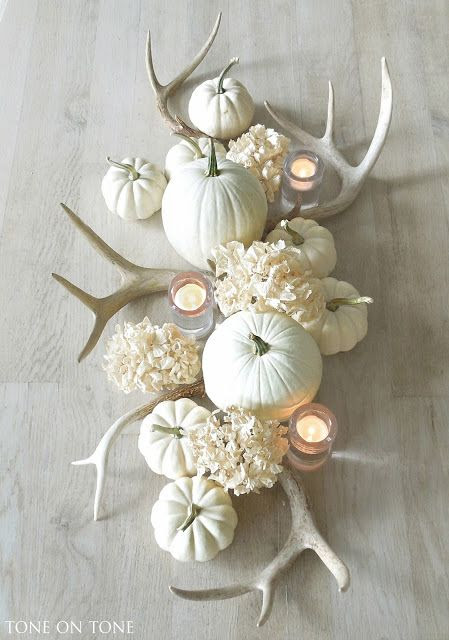 white hydrangeas, pumpkins and a few faux or real deer horns makes this motif beyond simple and elegant!