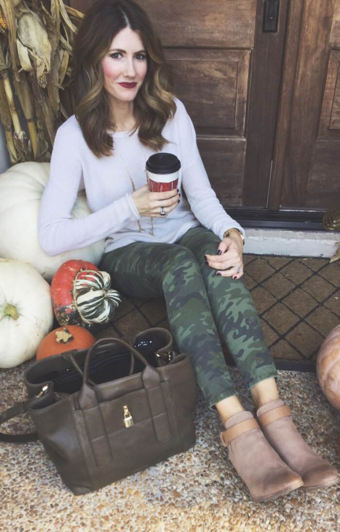 Easy tee + camo jean + booties & your ready for coffee with the girls!