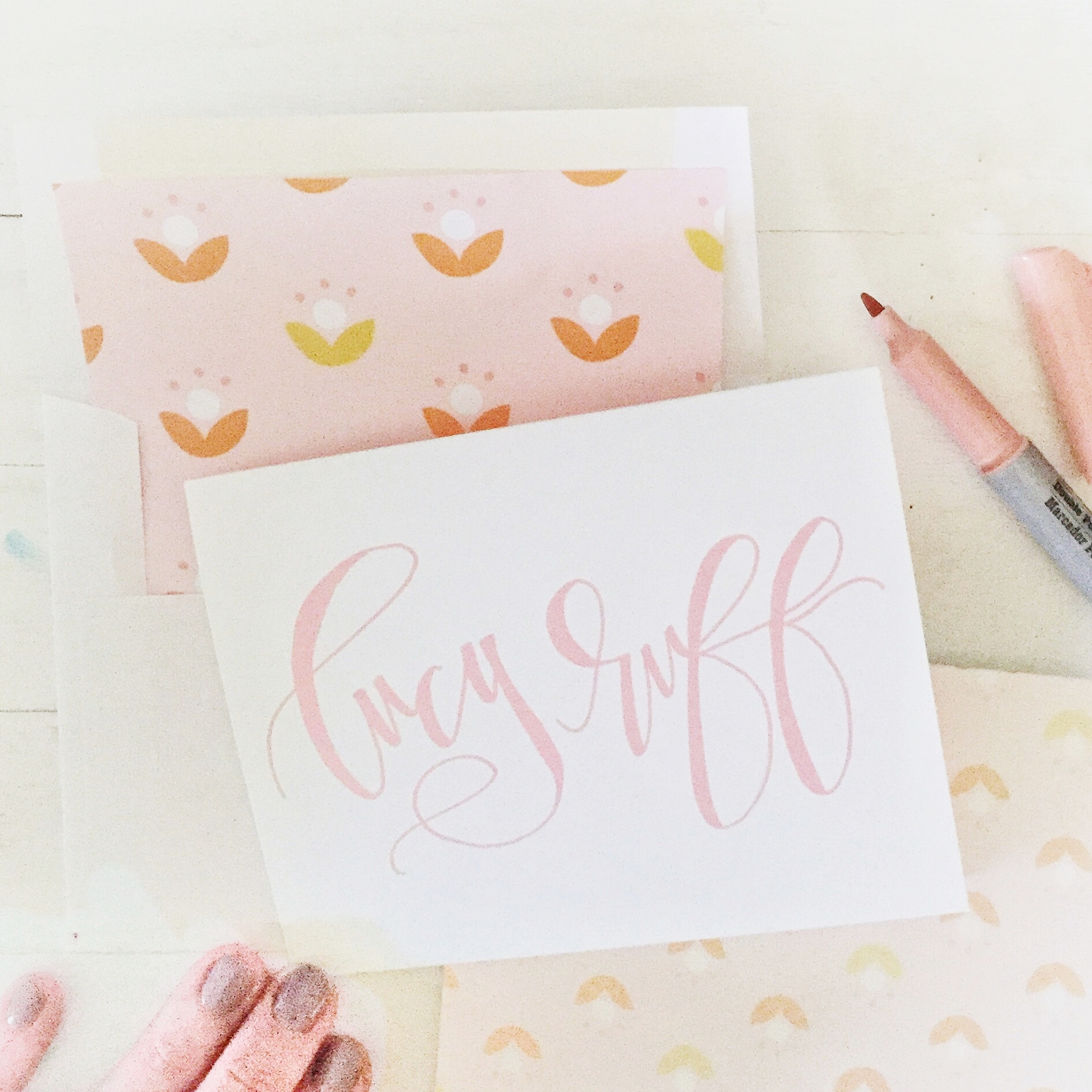 the LUCY notecard set complete with envelope liners and hand lettering makes this set one of a kind!