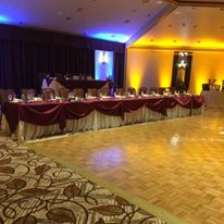 Fall themed head table wedding reception