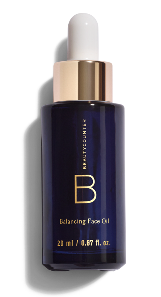 Apply one pump of Beautycounter's Nourishing Day cream and two drops of the Balancing Face Oil.   (The day cream locks in moisture without being too heavy. The balancing oil does just that; balances combination skin with ylang-ylang and chamomille. I even use it as a spot treatment when needed.)