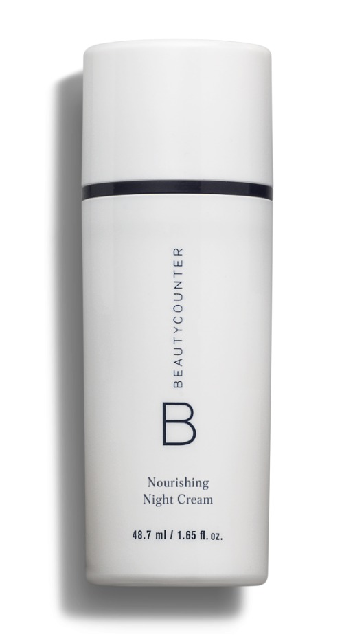 Apply one pump of Beautycounter's Nourishing Night Cream and two drops of the Balancing Face Oil.