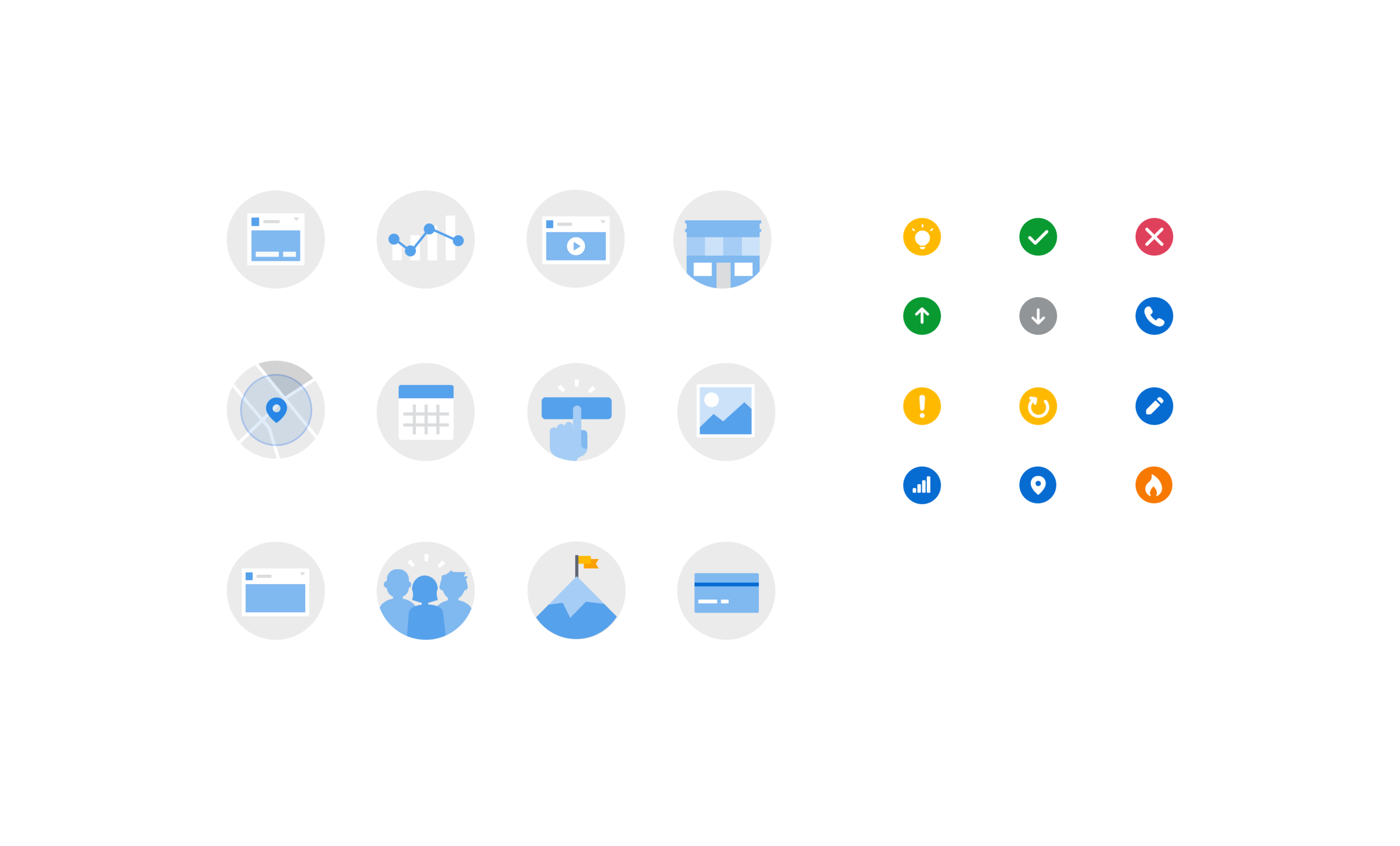 """The final set of icons, the larger type being generalized concepts of things like """"clicks"""", """"payment"""", """"milestone"""", or """"post"""", and the smaller type consisting of more nuanced concepts like """"edit"""", """"hot"""", """"error"""", and """"approved"""". These could be combined to make concepts like """"Ad Approved"""" or """"Edit Video"""", or used individually."""