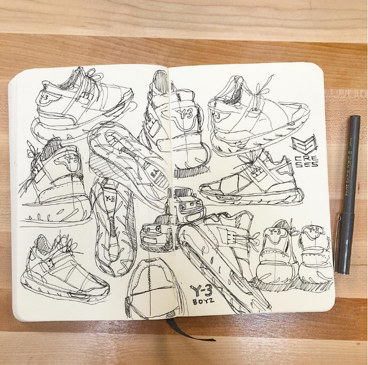 Ant T Nguyen Sketch of some Adidas Y3 Qasa and various cars. Copyright Creative Session