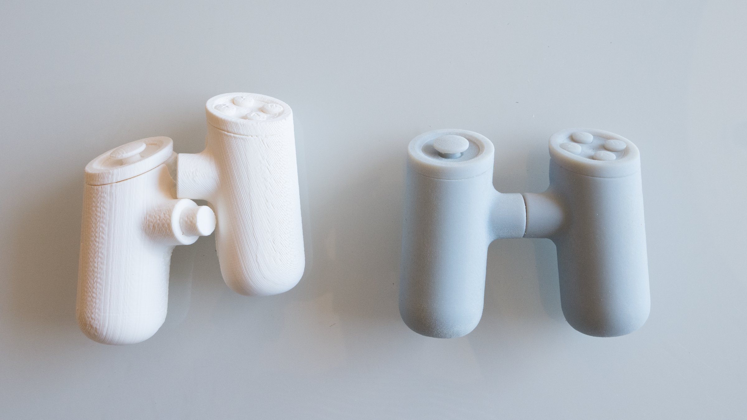 The first two 3d prints of Axis Game Controller.