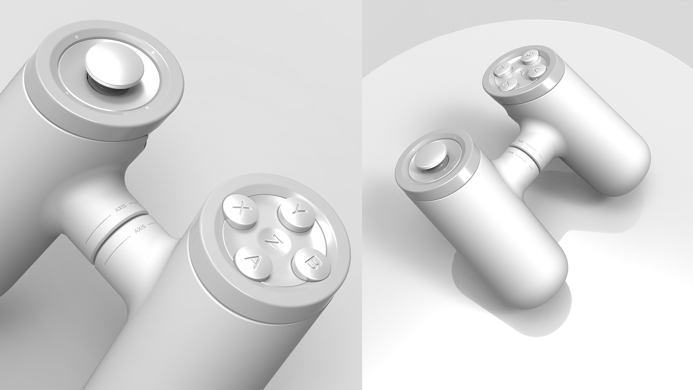 White color-way of axis controller. Top and Front View. Copyright Creative Session
