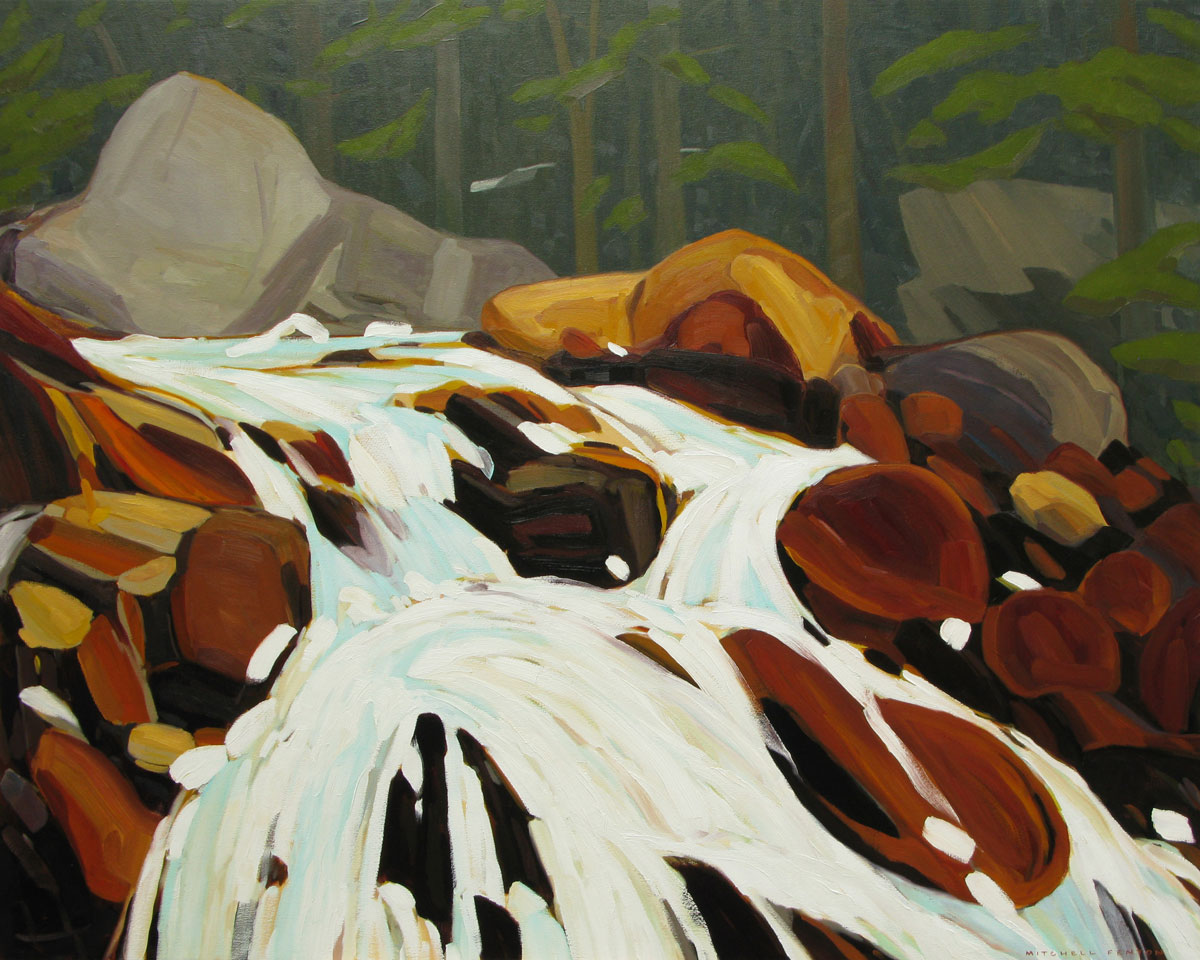 Waterfall East Opabin Trail - 48x60 inch
