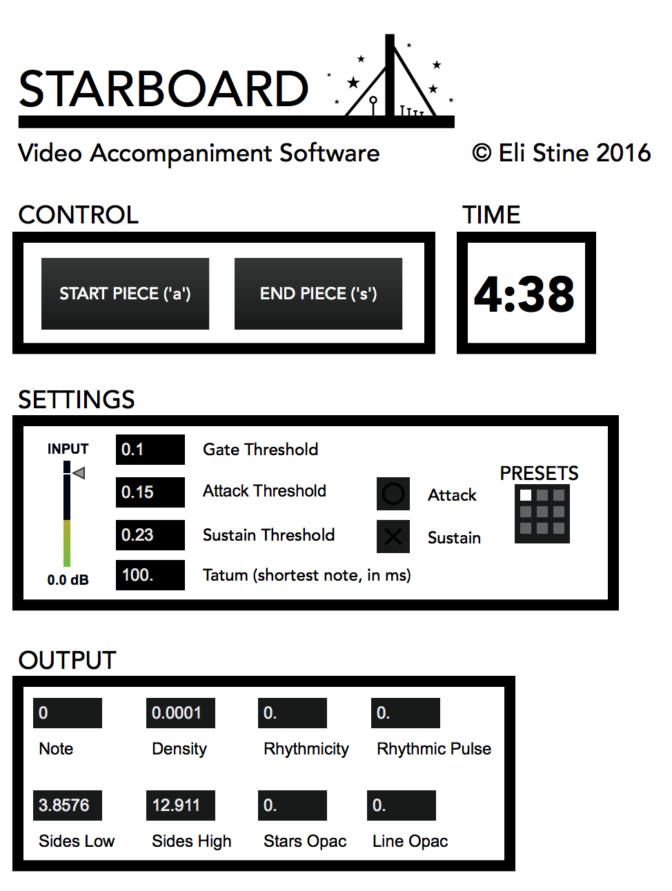 User interface I used to control (really just to set and forget the settings) the video of the piece.