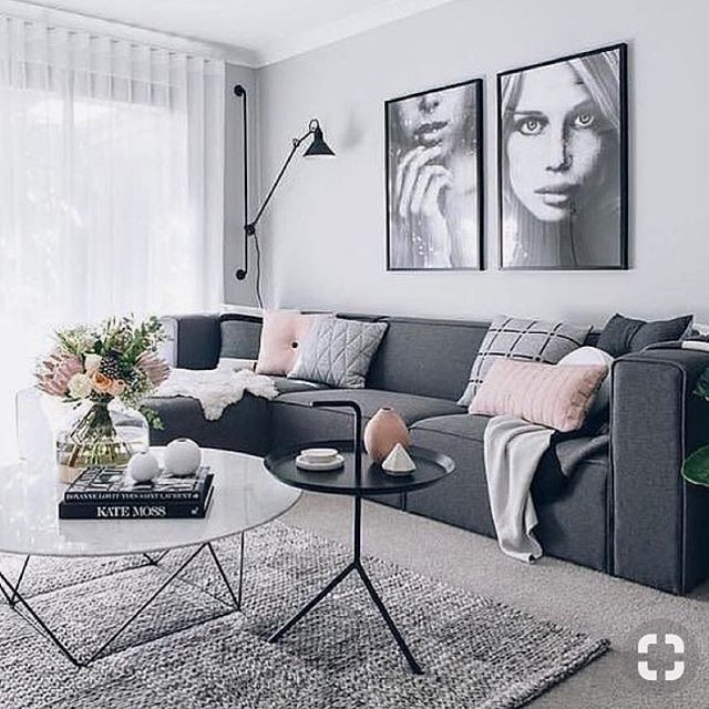 We're loving this grey and touches of soft pink living room by @nordikspace. Get this carpet look for just $2.99 sq ft (including carpet, pad and labor). Give us a call today to get a FREE quote ——  📞 801-563-8226