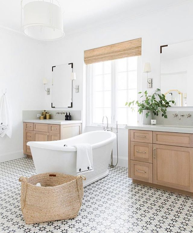 Seeing patterned tile floor everywhere and we don't see it going anywhere soon. This lovely space created by @studiomcgee.