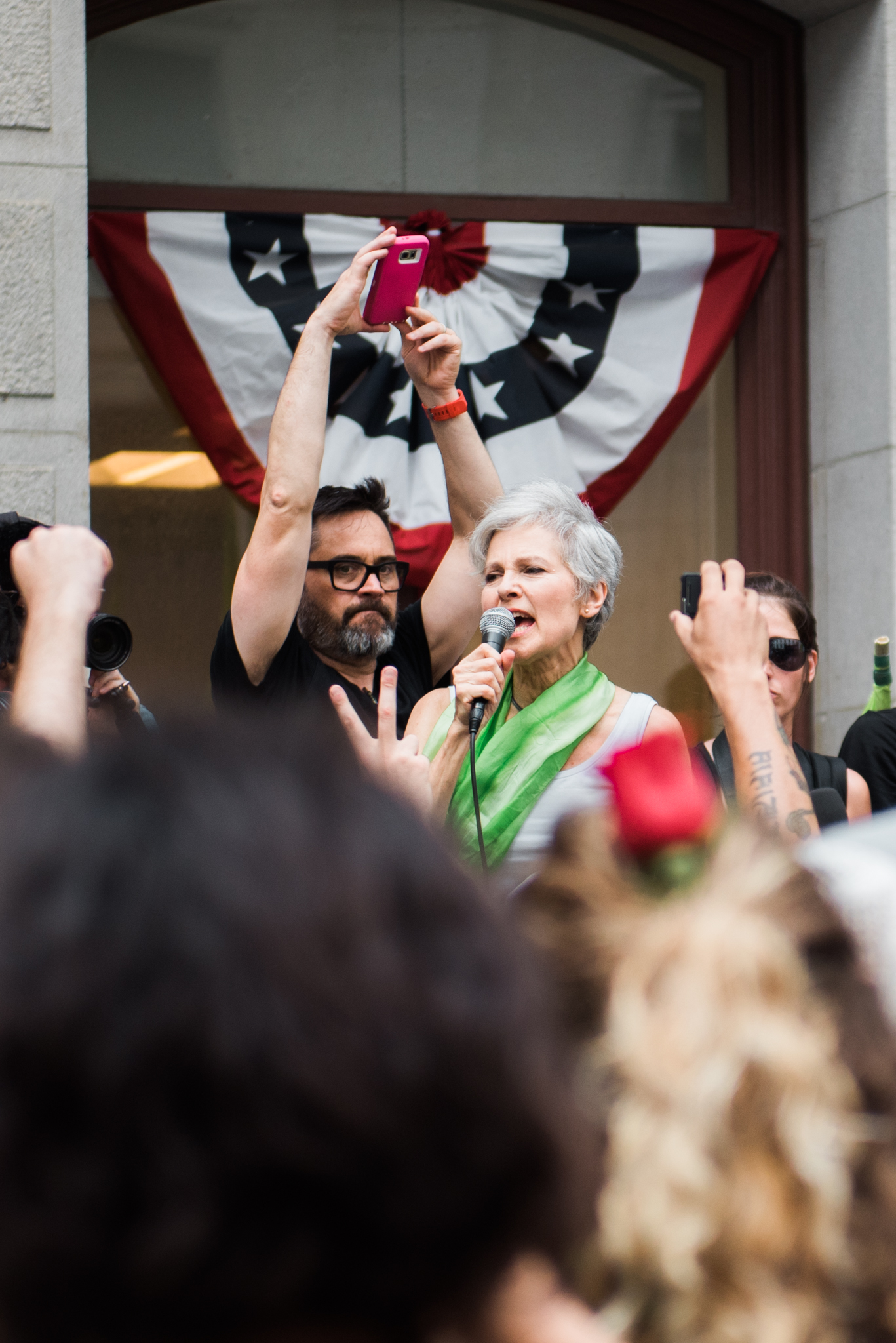 """Green Party presidential candidate Jill Stein speaks at on how both the GOP and Democrats have left behind so many after the Republican National Convention and #DNCleak during the """"March of Our Lives"""" rally on July 25, 2016 in Philadelphia, PA."""