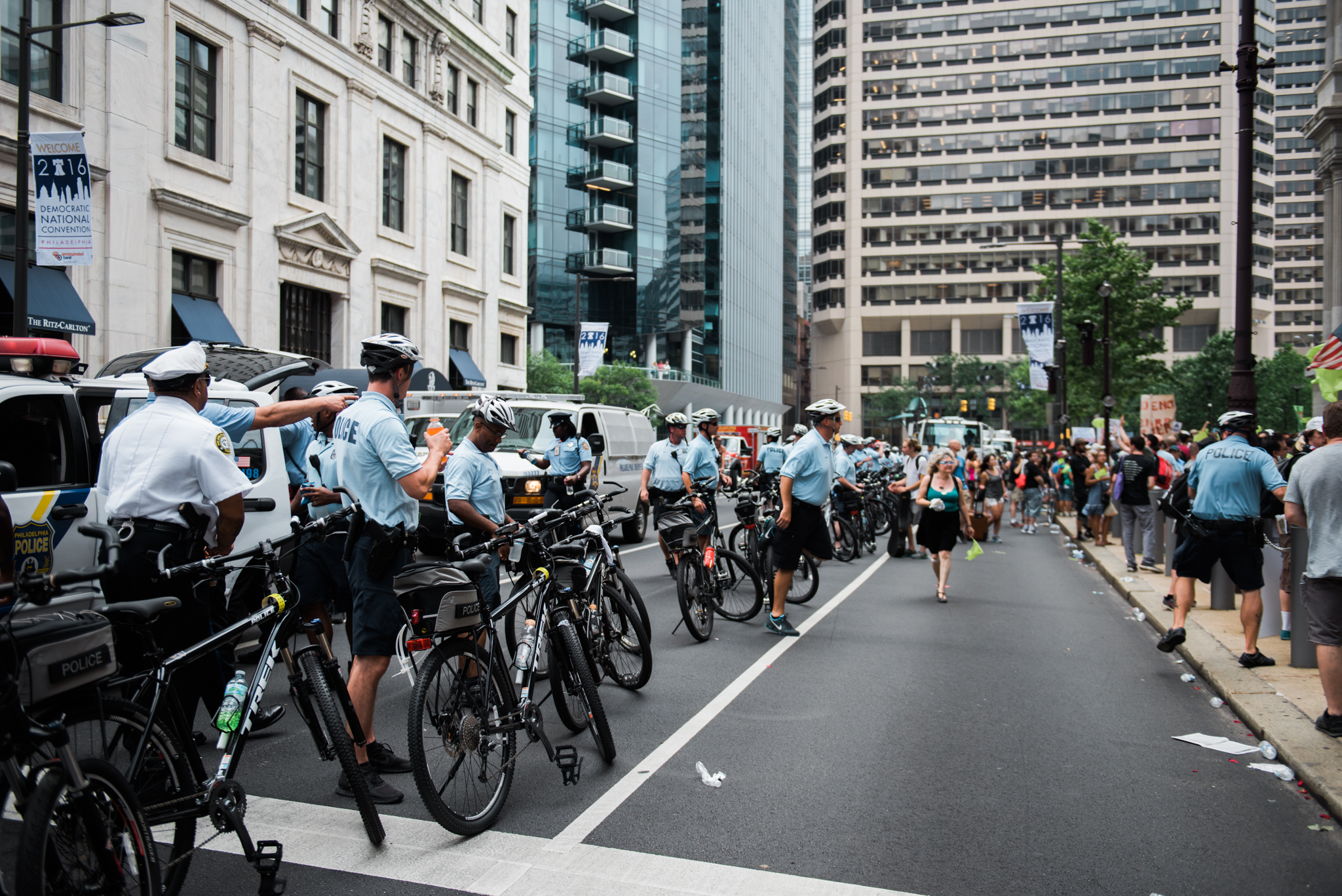 Philadelphia Police were very present throughout the DNC. The police were very well organized and professional - answering questions by puzzled locals and defusing situations between rival protesting groups. Here the police line up to keep march participants near the sidewalk until the protest from Philadelphia City Hall to Wells Fargo Center began.