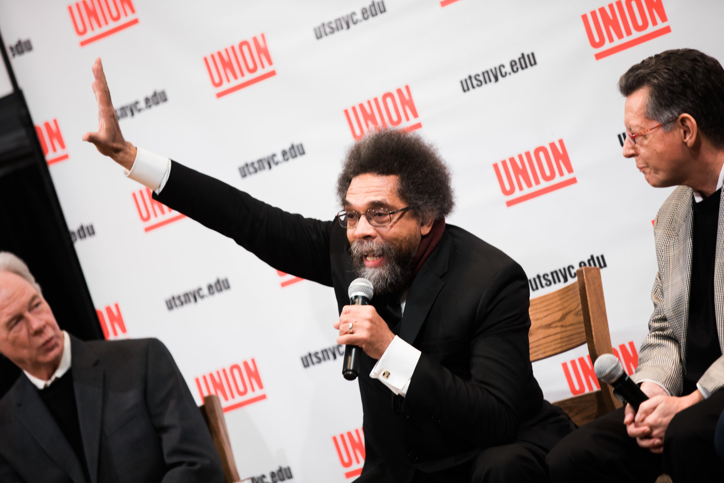 Cornell West speaks at an event at Union Theological Seminary in New York, NY. Photo by Daniel Lee.