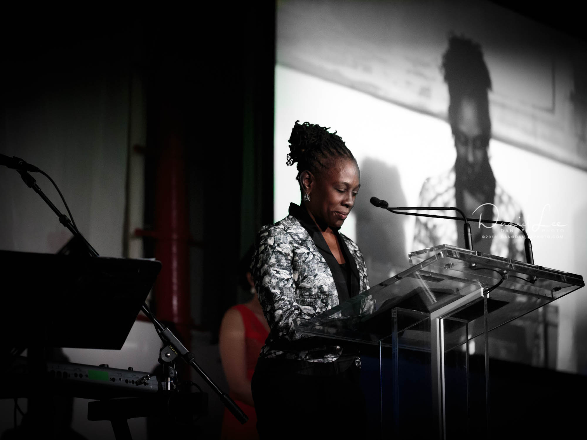 Chirlane McCray leads attendees of Korean Community Services of Metropolitan New York, Inc. (KCS)'s 42nd Anniversary Gala through a moment of silence for victims of the Paris attacks on November 13, 2015. Photo by Daniel Lee.