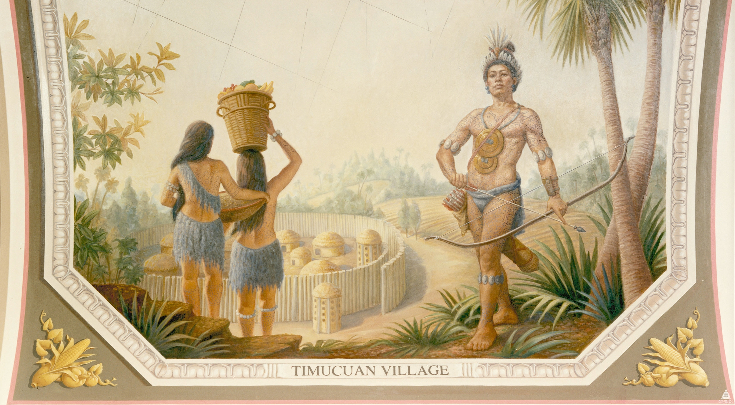 A Timucuan village as depicted by a painting in the United States Capitol. The Timucua people once lived on the barrier island where I grew up.