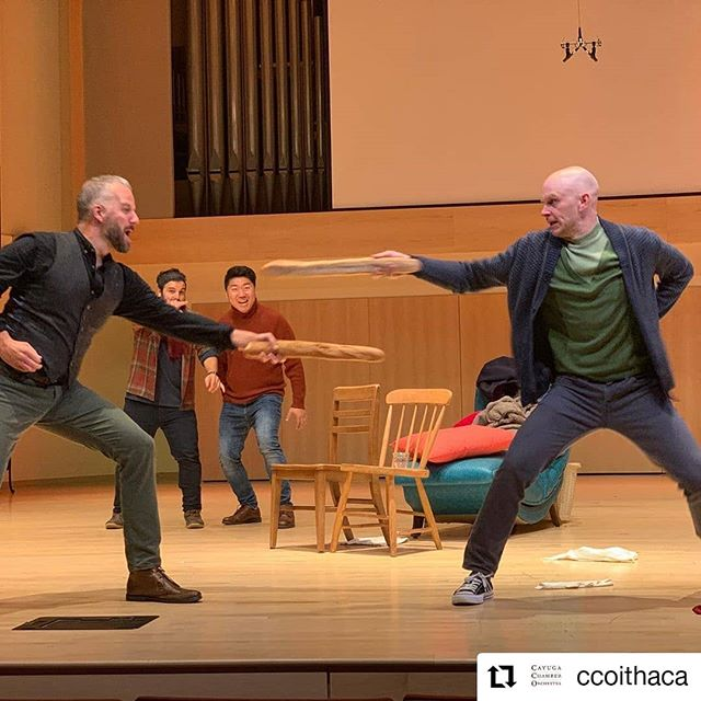 @ccoithaca managed to get this incredible baguette fencing shot from the @operaithaca production of La Bohème.  #laboheme #schaunard #colline