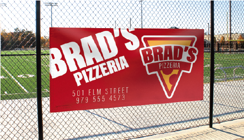 Brad's Pizzeria Stadium Sign Sponsorship Example by Campus Box
