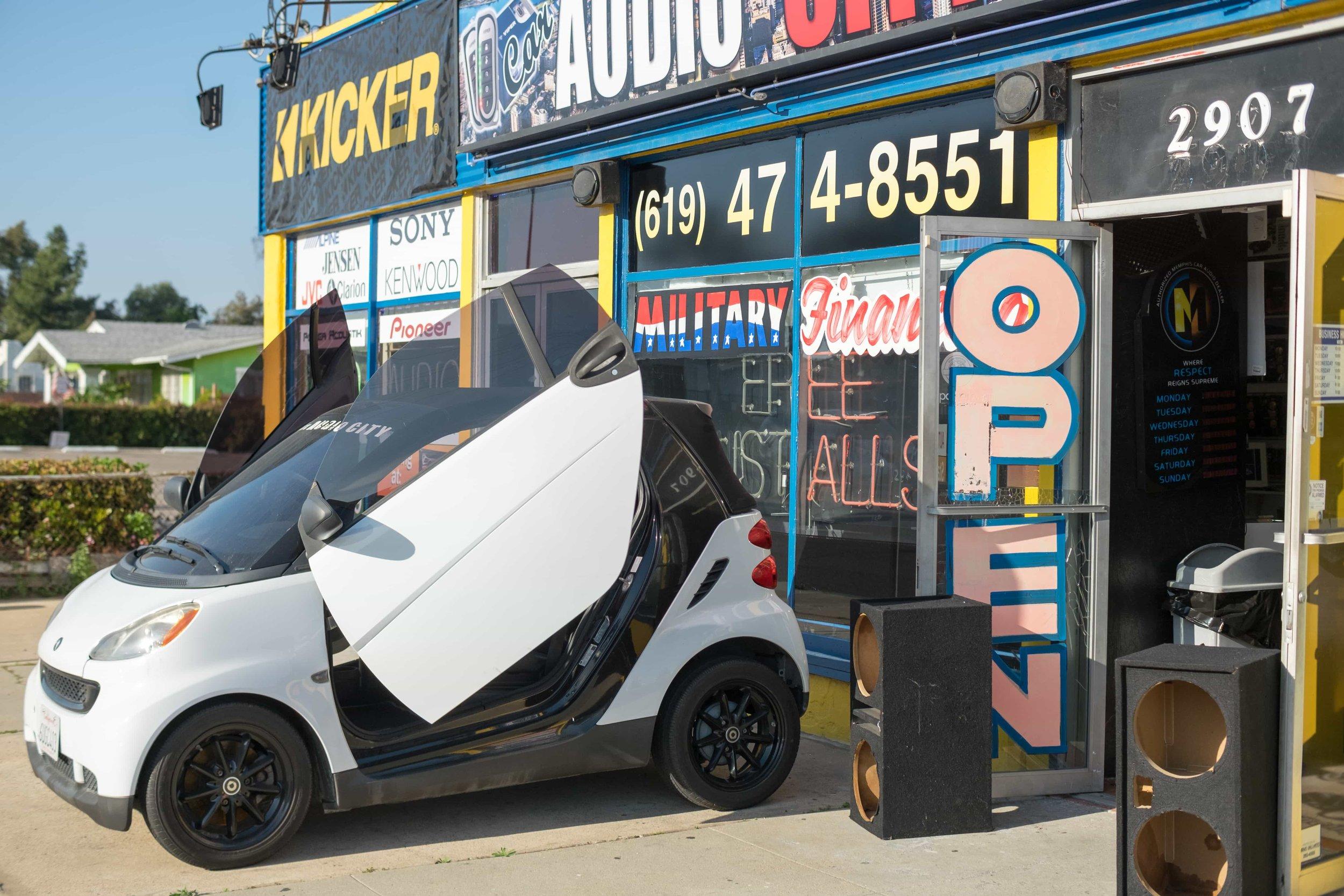 Lambo door installation at Car Audio City