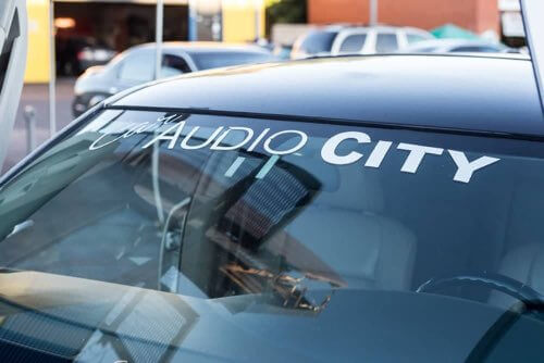 Car Audio City Decal on Car