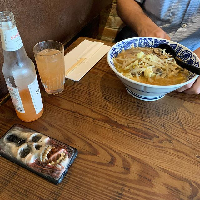 It's October and #worldvegetarianday ! Pictured is our #vegan #truffle #miso with a custom spooky phone case 👻 Come enjoy #ramen at @nakamuranyc today!