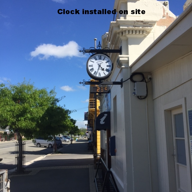 Victorian Railway Clock on Kurow Museum.JPG