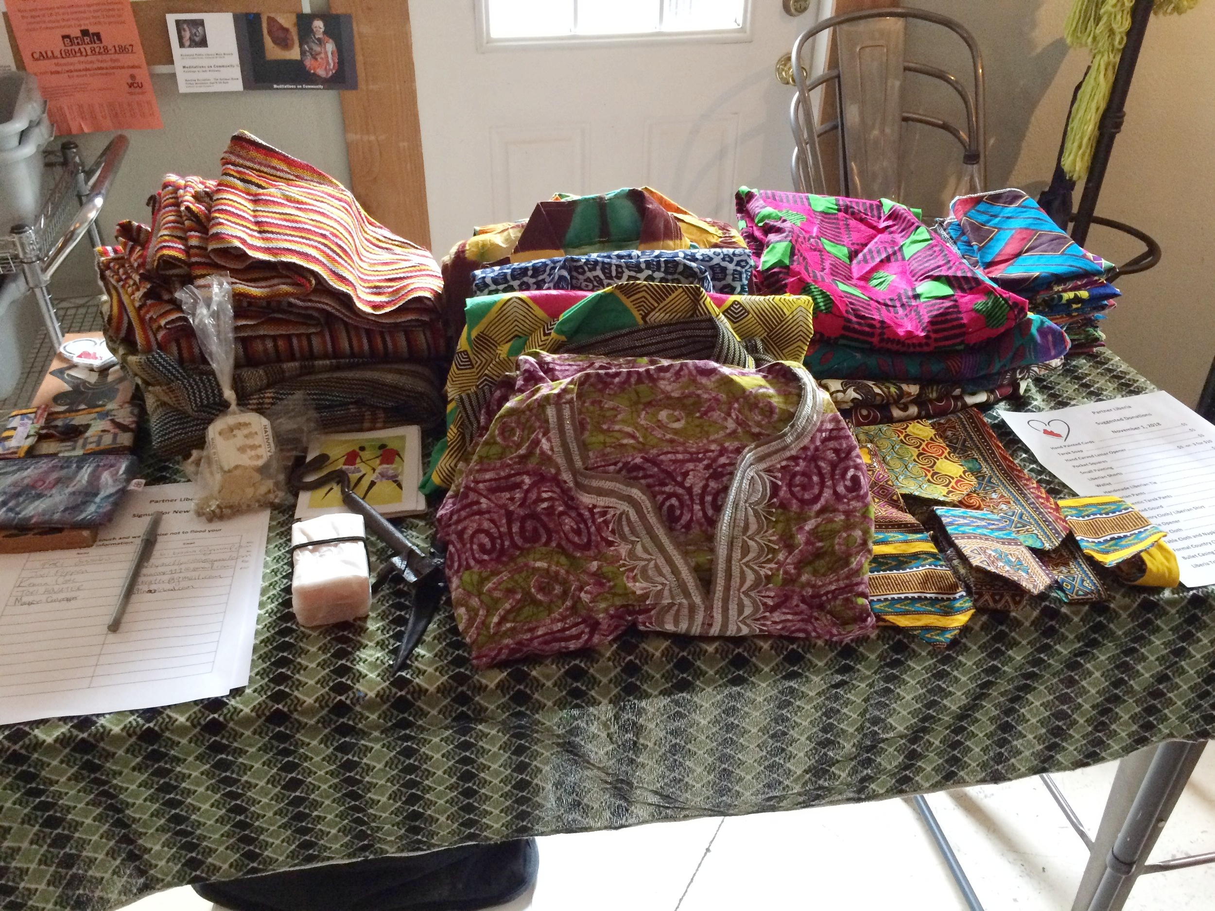 We had many items hand-made in Liberia to demonstrate our programs