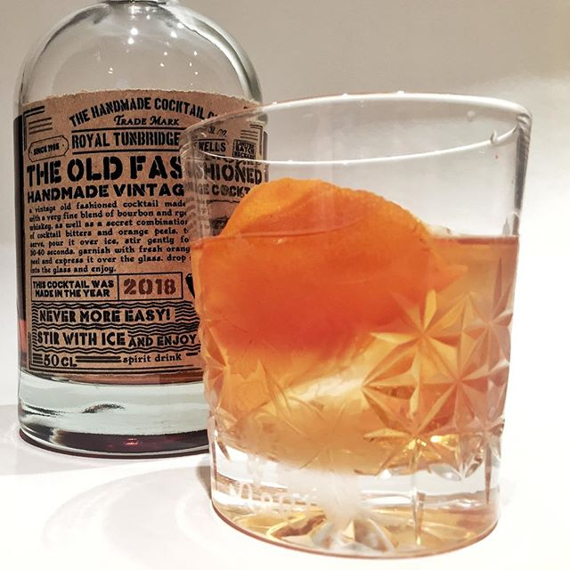 Not a gin this time. An 'old fashioned vintage cocktail' from The Handmade Cocktail Co.  Fine bourbon whiskey, cocktails bitters and orange peels. 'YEE-HAW' as they say in Tunbridge Wells.