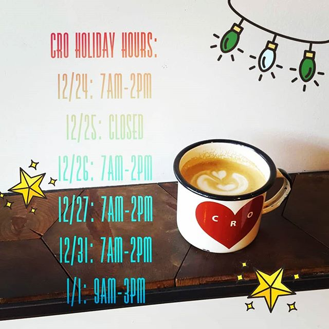 Our hours will be a little different in the next couple weeks, but we'll be back to our regularly scheduled programming after the new year. ♡♡♡ °~•°~•°~•°~•°~•°~•°~•°~•°~• Holiday Hours: 12/24: 7am-2pm  12/25: CLOSED 12/26: 7am-2pm  12/27: 7am-2pm  12/31: 7am-2pm  1/1: 9am-3pm