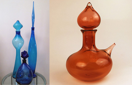 "On the left, three of my vintage decanters from the 1950s at Blenko. Photo courtesy of Tammy Roberts. On the right, ""Night in Tunisia"" Genie Decanter from my new Jazz in Glass series. Photo by Linda Husted."