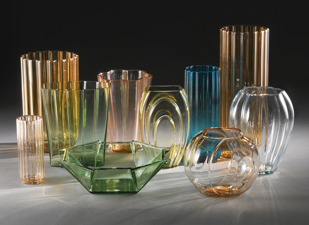 A collection of vases designed by George Sakier.