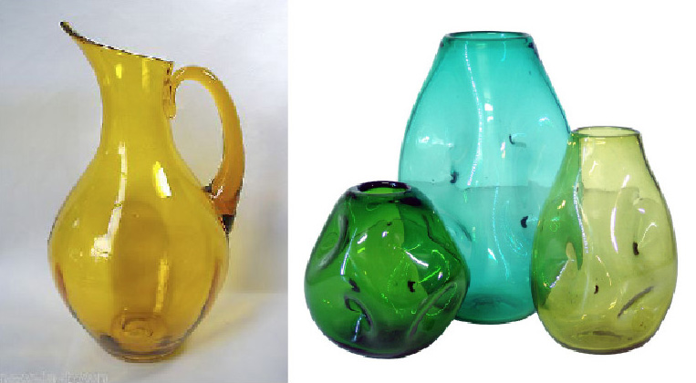 """Classic Blenko designs by Winslow Anderson: a pitcher in amber, and a set of """"Indent"""" vases."""