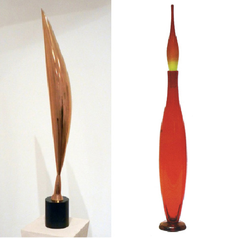 Above left: Constantine Brancusi's Bird in Space, 1924. Above right: My abstract bird floor piece, designed for Blenko in 1955.