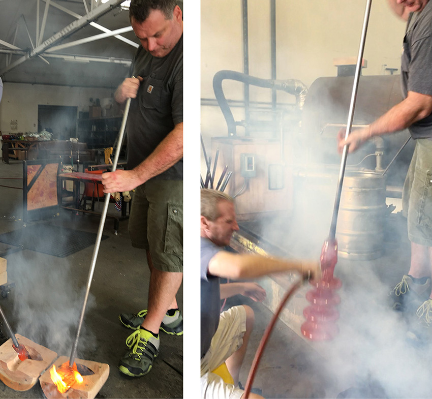 """Guido Gerlitz burns in a cherry wood mold (left), and a just-blown """"Take Five"""" is taken out of the steaming mold (right)."""