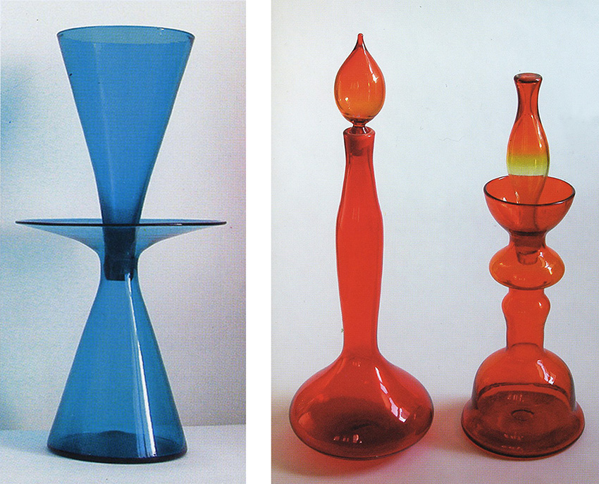 Photos taken by Gordon Harrell in the latest edition of BLENKO: COOL 50s AND 60s GLASS. If you want to know what these pieces are, look them up in the book!
