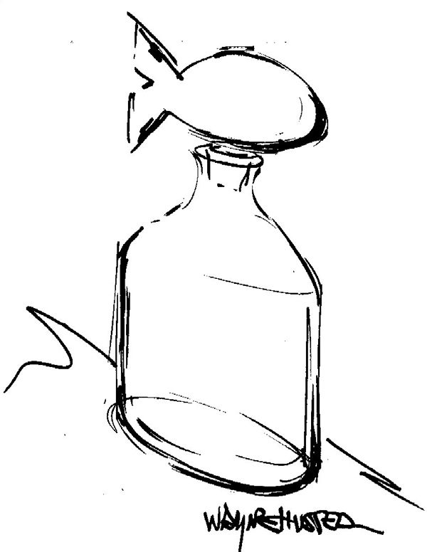 My sketch of the Pacific bottle with fish stopper.