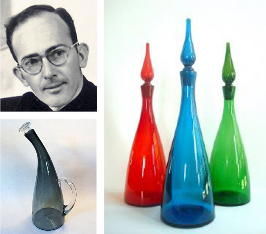 """Winslow Anderson, as a young design director at Blenko. His radical """"Neck Decanter"""" is shown on the left, and a trio of 920s are shown on the right."""