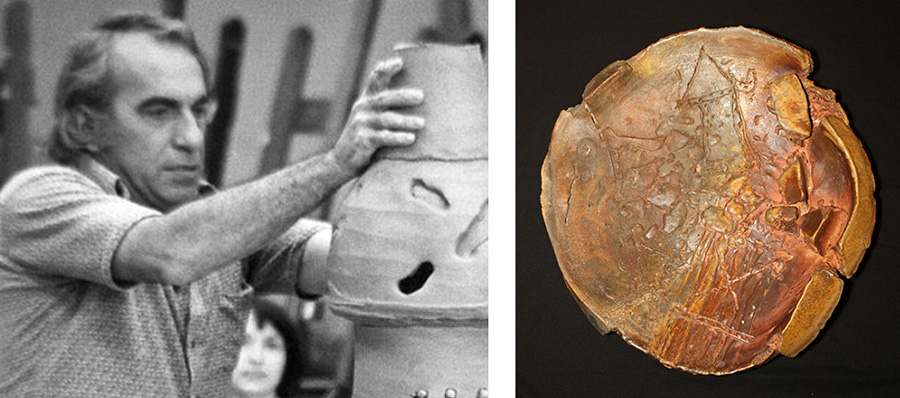 """Peter Voulkos demonstrating at a workshop in Birmingham, Alabama, 1974, Courtesy of the Voulkos & Co. Catalogue Project. On the right, his """"untitled Plate"""" plate (20"""" x 20"""") is an early example of a plate that is nonfunctional fine art. (Photo courtesy Duane Reed Gallery)"""