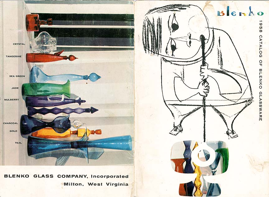 1958 Blenko catalog, designed by me. I designed all of the catalog covers for every year that I was there, from 1952 through 1963. I also drew the glassblower figure on this cover. See if you can find my name (it's under the right arm).