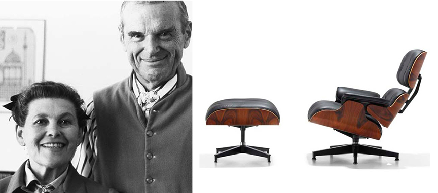 Ray and Charles Eames, and their famous Eames lounge chair. Photos © Eames Office LLC
