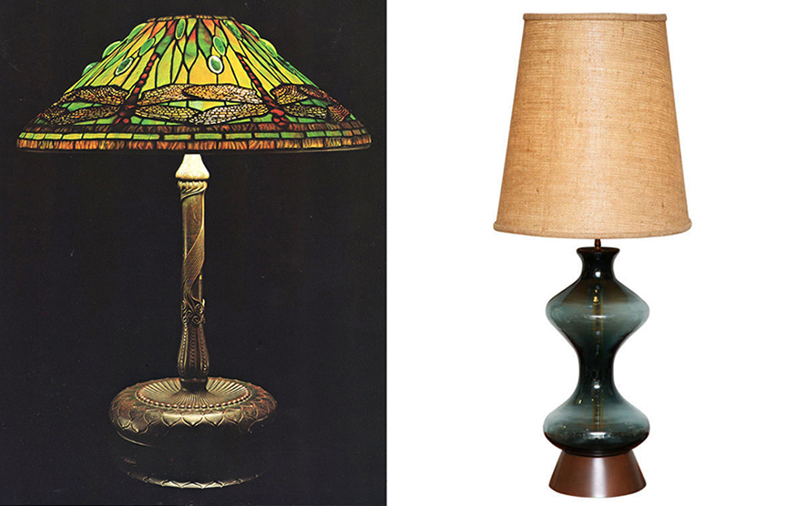 """On the left: An elitist Tiffany """"Dragonfly"""" lamp, after 1902, Favrile glass with bronze vase. Base-stamped """"262/Tiffany Studios New York. On the right: A populist Mid-century Blenko table lamp, designed by me in the 1950s."""