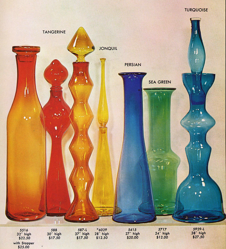 """Collection of """"Big-Ass"""" Decanters as shown in Blenko's 1959 catalog."""