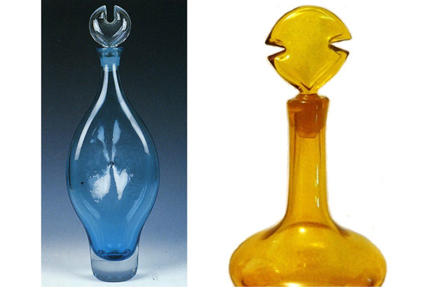 """The one-notched 5419 decanter, and detail of the two-notched """"Napolean"""" decanter. Photo on the left by Gordon Harrell."""