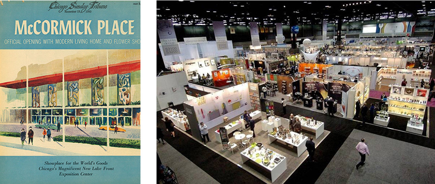 Left: 1960 cover for Chicago Tribune Magazine, featuring the city's exhibition hall McCormick Place. Right: Inside the hall at the Chicago International Housewares show at McCormick Place.