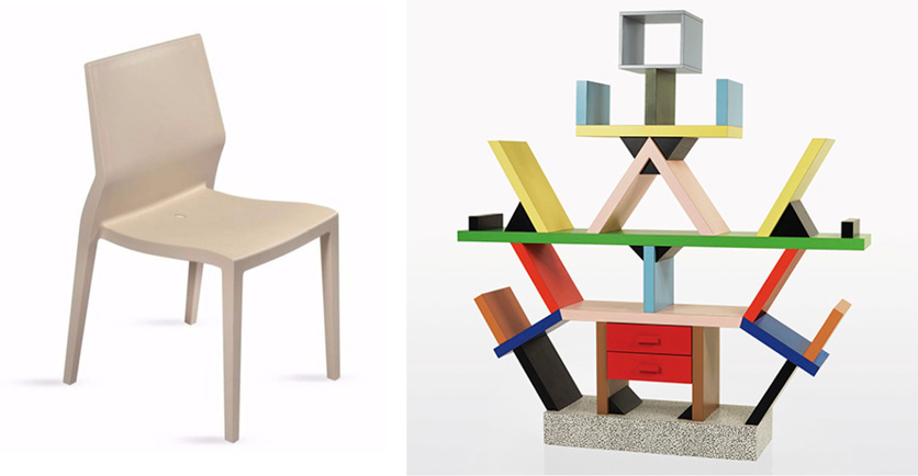 Left: The Ibebi stackable polypropylene chair is an early fully-injection molded Italian design. Right: Memphis-style room divider designed by Ettore Sottsas.