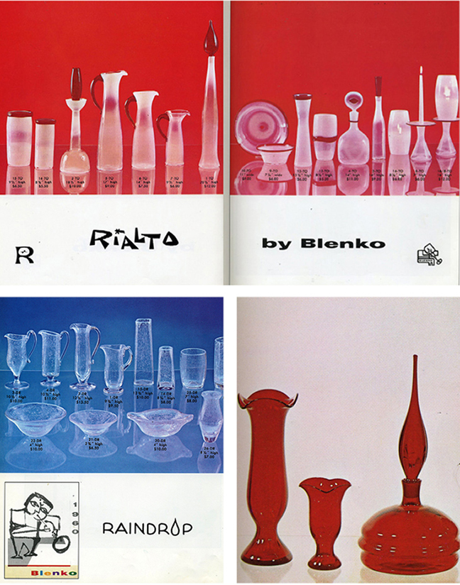 "We introduced my ""Three Rs"", Rialto, Raindrop and Regal lines in 1960. Only the Regal line (lower right) was a hit. Sadly, the Raindrop and Rialto lines were not. Only a limited number of items were made of the latter two. Buyers didn't find them to be ""Blenko enough."""