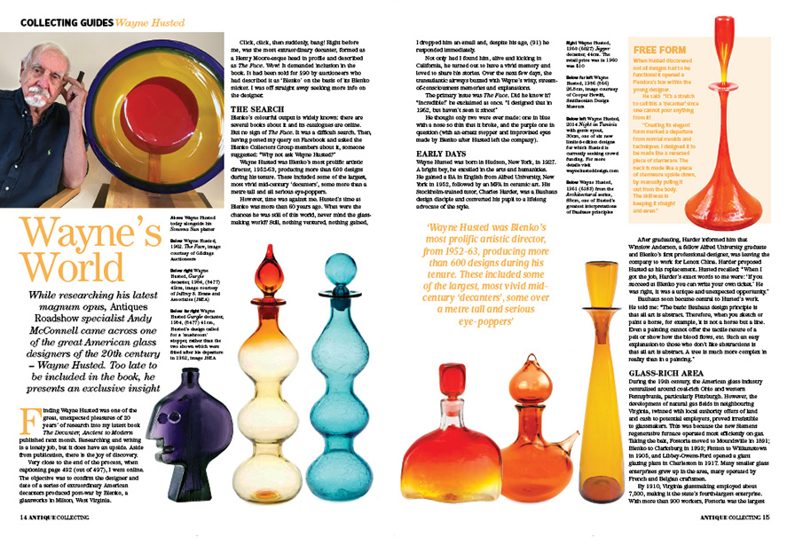 Opening two pages of Andy McConnell's five page article in  Antique Collecting  magazine.