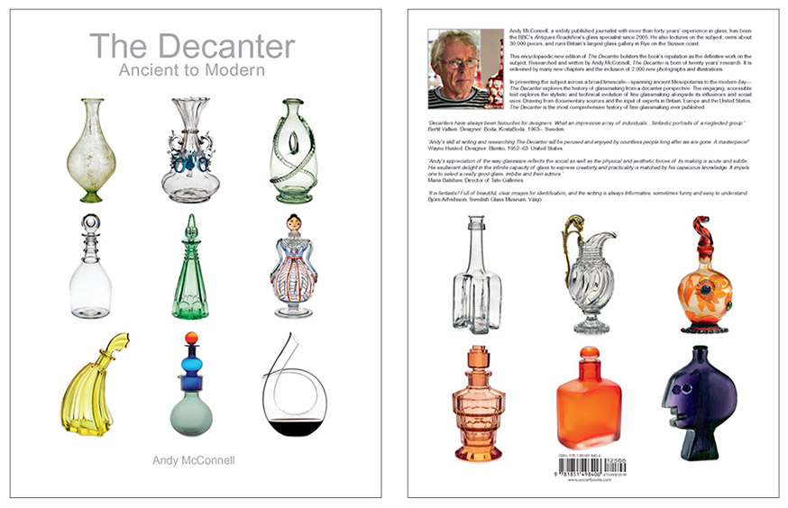 Front and back covers of Andy's book. There's the purple Face Decanter in the lower right corner on the back.